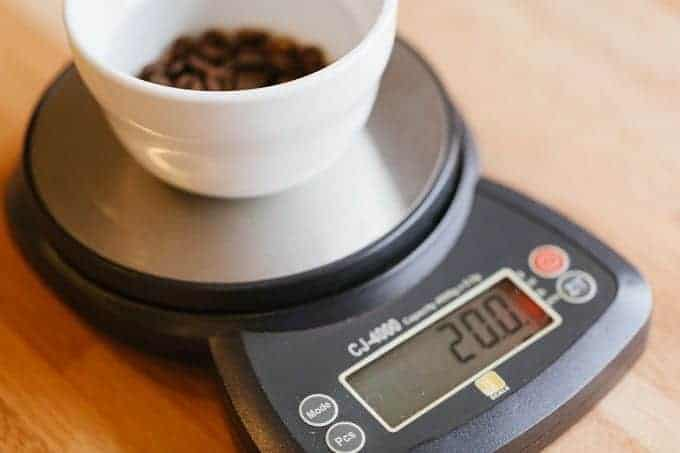 Measuring Coffee Grinds with a digital balance