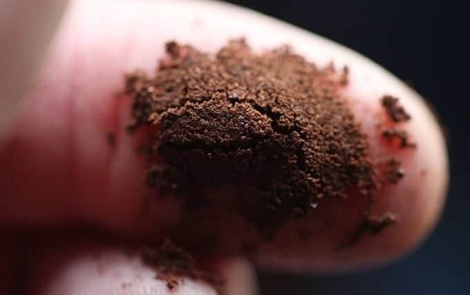 Consistent Grind of coffee shown on a finger