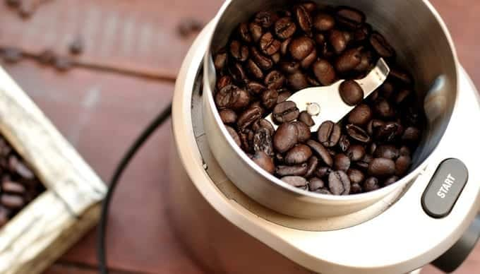 Coffee beans In a blade grinder