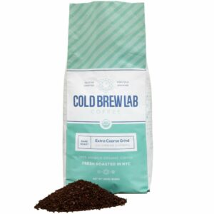 cold brew lab organic coarse ground coffee isolated on white background