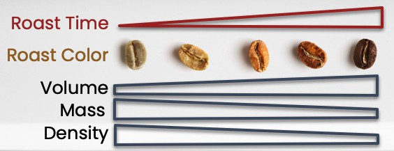 different grades of roasted coffee bean